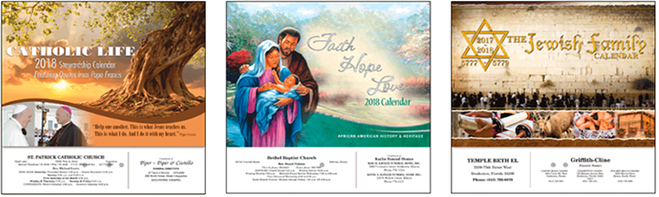 All New Religious Calendars Titles for 2018 for JRK – Catholic, Lutheran, Protestant, Jewish, Bible Verse, Franciscan, Episcopal & Inspirational.