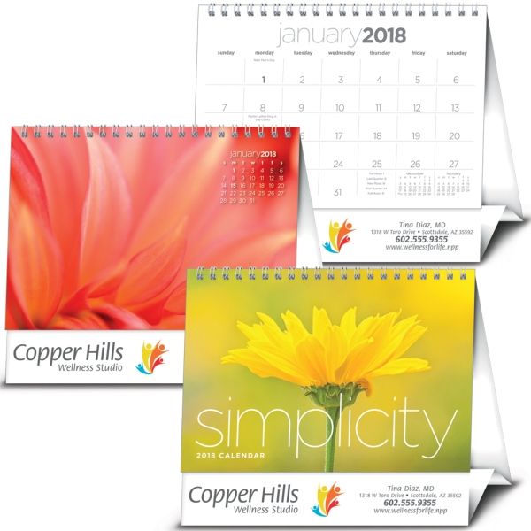 Real estate, fitness and financial businesses will benefit from the beautiful simplicity of nature with the Simplicity large desk calendar!