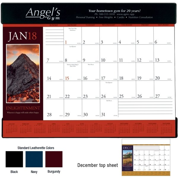 Your recipients won't be able to keep their eyes off the Motivations 2018 desk pad calendar! This uplifting product is a perfect thank-you for customers.