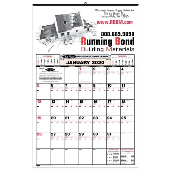 Bid Master® contractor wall calendar